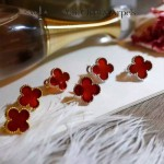 Van Cleef&Arpels飾品-04-2 潮流新款925純銀材質電鍍18k紅色四葉草耳釘