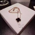 Van Cleef&Arpels飾品-02 時尚小清新女士925純銀K金黑色四葉草項鏈