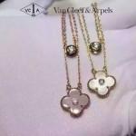 Van Cleef&Arpels飾品-01 潮流經典款女士925純銀電鍍18k裸粉色雙層四葉草項鏈