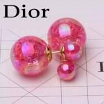 DIOR飾品-04 甜美少女風糖果系列熒光粉大小珍珠耳釘
