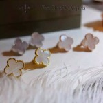 Van Cleef&Arpels飾品-04 潮流新款925純銀材質電鍍18k裸粉色四葉草耳釘