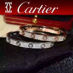 CARTIER飾品-017 潮流熱銷love系列經典款925純銀滿鑽螺絲手鐲