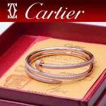 CARTIER飾品-010-3 潮流新款女士電鍍18k玫瑰金三圈滿鑽釘子手鐲