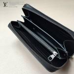 LV N41503-01 人氣熱銷黑色壓方格ZIPPY大號原版皮男士手包