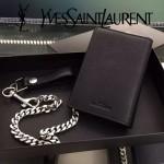YSL 038-2 歐美百搭新款黑色原版小羊皮兩折防盜錢包