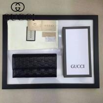 Gucci 257303 人氣熱銷經典時尚款黑色全皮壓花長夾