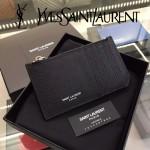 YSL 037-6 輕便實用新款黑色原版皮單拉鏈零錢包名片夾