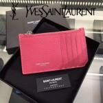 YSL 037-5 輕便實用新款粉色原版皮單拉鏈零錢包名片夾