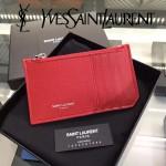 YSL 037 輕便實用新款紅色原版皮單拉鏈零錢包名片夾