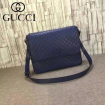 Gucci 223665-01 潮流時尚經典款藍色全皮壓花男士斜背包郵差包