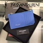 YSL 037-4 輕便實用新款藍色原版皮單拉鏈零錢包名片夾