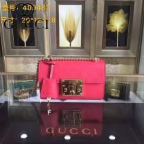 Gucci 409487-08 人氣熱銷潮流時尚款padlock系列全皮壓花大瑣扣小號鏈條包