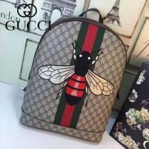 GUCCI 419584-4 時尚休閒新款刺繡蜜蜂咖啡色配PVC雙肩包書包