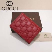 GUCCI 410120-2 輕便實用紅色全皮壓花兩折錢包卡包