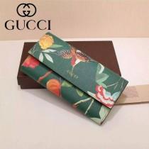 GUCCI 424892-4 時尚女士百鳥圖綠色牛皮配PVC搭扣長款錢包