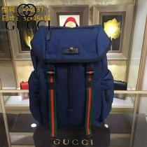 GUCCI 429037 時尚新款男士Techpack藍色帆布大容量雙肩包