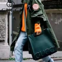 Gucci 409380 歐美時尚新款進口全牛皮GUCCI浮雕標誌購物袋
