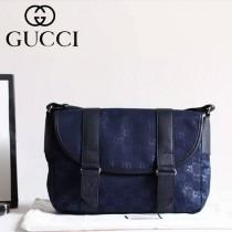 Gucci 374429-01 潮流時尚款進口牛皮配帆布休閑斜挎包