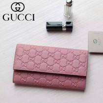 Gucci 410100-03 名媛必備時尚新款粉色全皮壓花錢夾