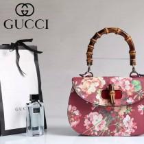 Gucci 409893-01 專櫃時尚新款印花系列竹節手提包