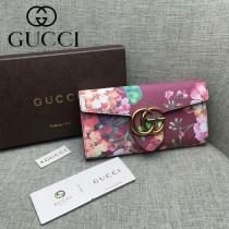 GUCCI 400586-5 夏日新款女士天竺葵系列紅色搭扣長款錢包