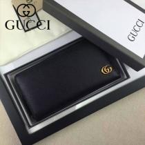 GUCCI 428736 時尚新款男士雙G logo黑色全皮長款拉鏈錢包