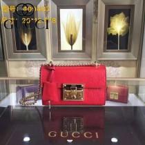 Gucci 409487-012 人氣熱銷潮流時尚款padlock系列全皮壓花大瑣扣小號鏈條包