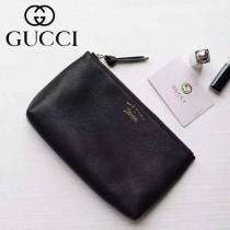 Gucci 368881-01 人氣熱銷時尚新款燙金Logo進口軟質牛皮手拿包化妝包