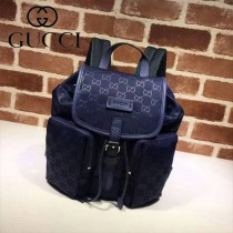 GUCCI 406361-2 人氣熱銷單品寶藍色logo壓帆布雙肩包書包