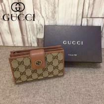 Gucci 337023-01 人氣熱銷時尚經典款咖啡色中夾