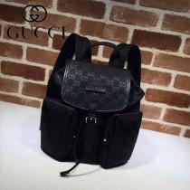 GUCCI 406361 人氣熱銷單品黑色logo壓帆布雙肩包書包