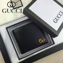GUCCI 428726 型男必備雙G logo黑色全皮兩折短款錢包