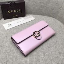 GUCCI 369663-3 人氣熱銷新款粉色平紋牛皮搭扣長款錢包
