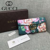 GUCCI 400586-8 夏日新款女士天竺葵系列綠色搭扣長款錢包