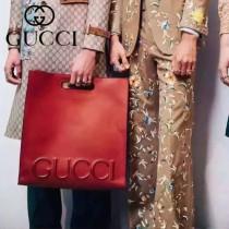 Gucci 409380-01 歐美時尚新款進口全牛皮GUCCI浮雕標誌購物袋