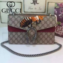 Gucci 400249-011 歐美時尚新款女士PVC配磨砂皮蜜蜂系列酒神包