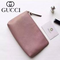 Gucci 368881-02 人氣熱銷時尚新款燙金Logo進口軟質牛皮手拿包化妝包