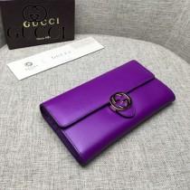 GUCCI 369663-5 人氣熱銷新款紫色平紋牛皮搭扣長款錢包