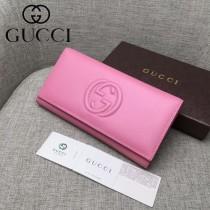 Gucci 428100 專櫃時尚新款進口牛皮大logo手包皮夾卡包