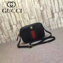GUCCI 412009 專櫃新款虎頭設計黑色全皮單肩斜挎包