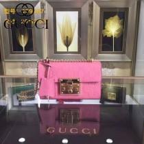 Gucci 409487-010 人氣熱銷潮流時尚款padlock系列全皮壓花大瑣扣小號鏈條包