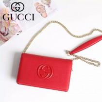 Gucci 407041-01 人氣熱銷時尚新款紅色全皮鏈條小包