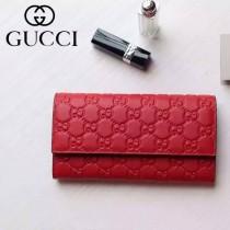 Gucci 410100-01 名媛必備時尚新款紅色全皮壓花錢夾