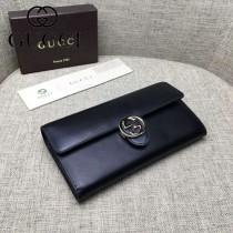 GUCCI 369663-2 人氣熱銷新款黑色平紋牛皮搭扣長款錢包