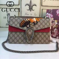 Gucci 400249-012 歐美時尚新款女士PVC配磨砂皮蜜蜂系列酒神包