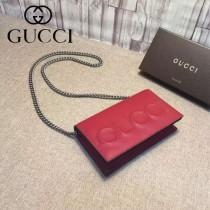 GUCCI 421850-2 人氣熱銷單品logo浮雕紅色全皮單肩斜挎包