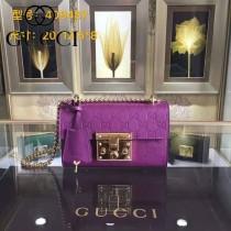 Gucci 409487-09 人氣熱銷潮流時尚款padlock系列全皮壓花大瑣扣小號鏈條包