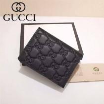 GUCCI 410120-3 輕便實用黑色全皮壓花兩折零錢包卡包