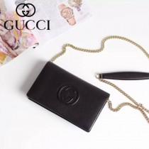 Gucci 407041 人氣熱銷時尚新款黑色全皮鏈條小包