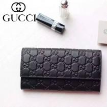 Gucci 410100-02 名媛必備時尚新款黑色全皮壓花錢夾